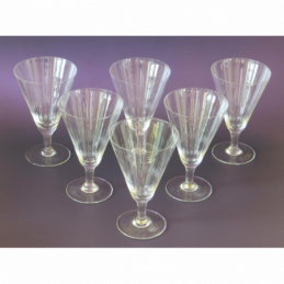 Pastis glazen 6 x blank groot gouden lijnen Frans Art Deco jaren 30