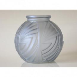 Karaf + 11 water glazen felblauw optiek Belgisch Art Deco jaren 30